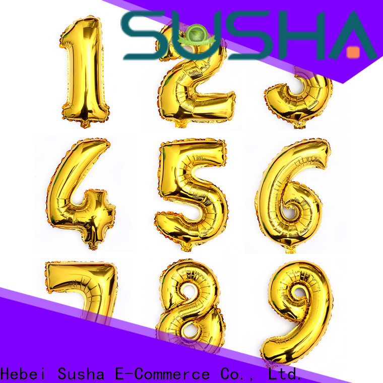 Susha number foil number balloons manufacturer for anniversaries