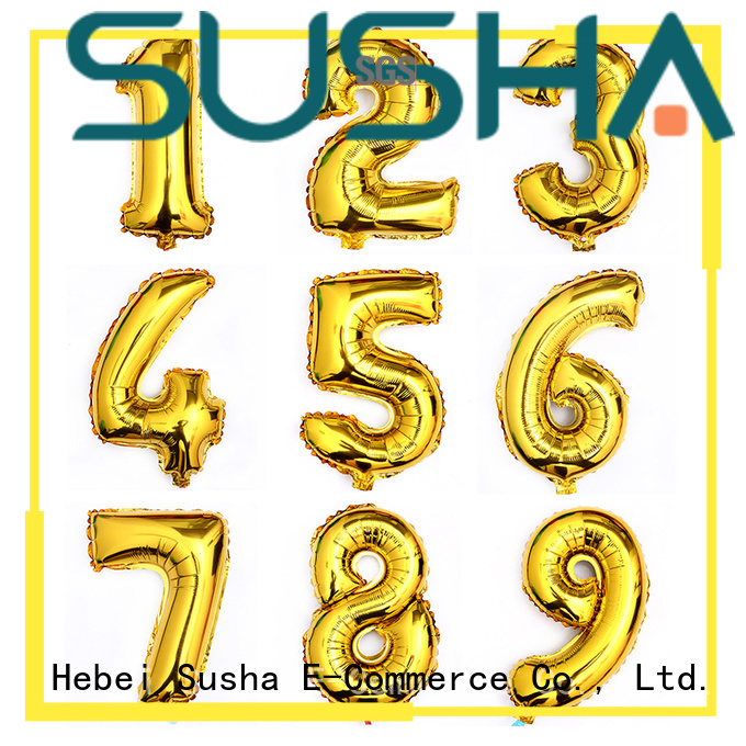 Susha aluminum foil number balloons wholesale for birthday